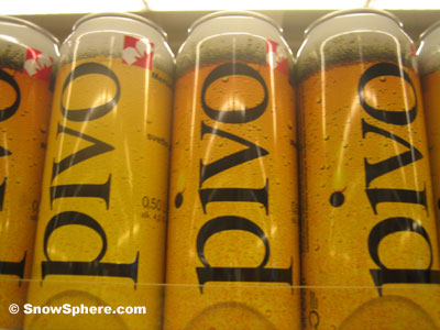 cans of pivo beer on slovenian supermarket shelf